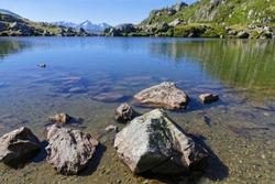 Shoreline of the mountain lake in Pas de la Coche