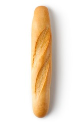 Short baguette. Top view. Isolated on a white.