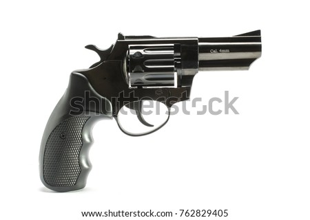 Short-barreled revolver with a black plastic handle  isolated