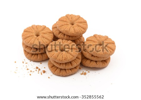 short breads in the foreground on white background