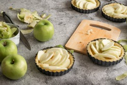 Short crust pastry for apple pies, cooking concept