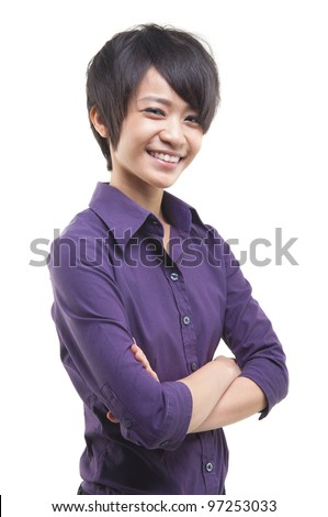 Short hair Asian Educational/Business woman on white background