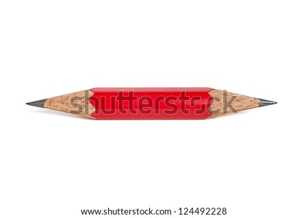 short pencil that is sharpened on both sides