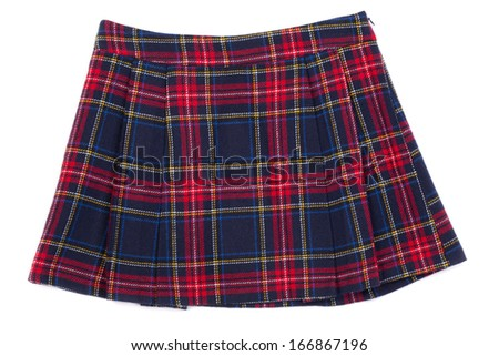Short plaid skirt isolated on white background