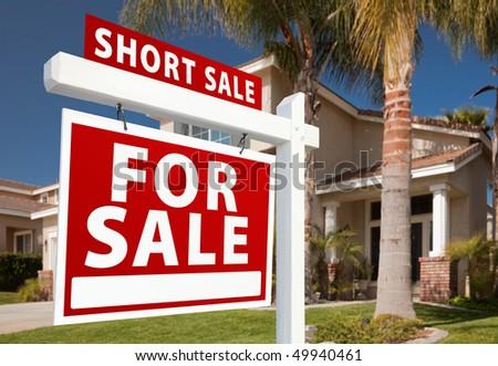 Short sale home for sale real estate sign and house left for Short sale websites for realtors