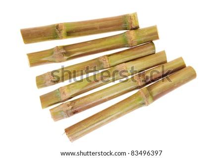Short Stumps Of Sugarcane Isolated On White Background