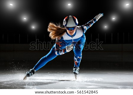 short track. athlete on ice