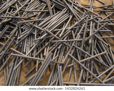 short trimming of steel reinforcement rods for tying the power framework of the foundation