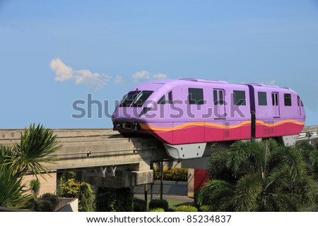 Short violet monorail train from funny land.