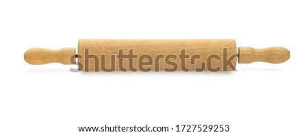 Photo of  Short wooden rolling pin isolated on white background