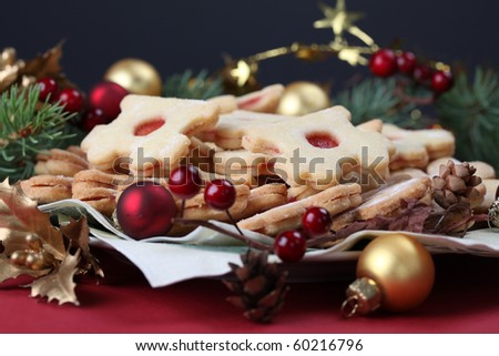 Shortbread Christmas cookies with Christmas decorations. Shallow dof