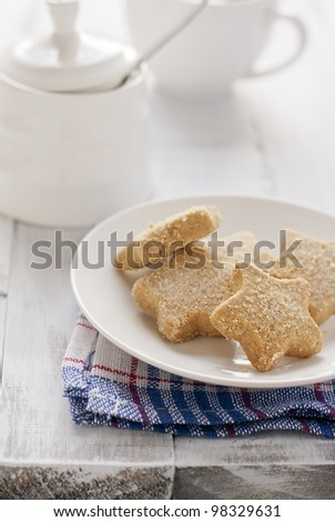 shortbread cookies on a white distressed table