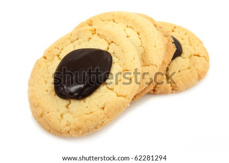 Shortbread Cookies With Fudge Isolated Over White Background