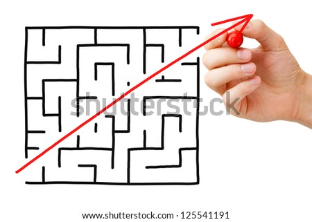 Shortcut cutted through a maze by a red arrow. Concept about finding a simple solution to a problem or completing a difficult task.