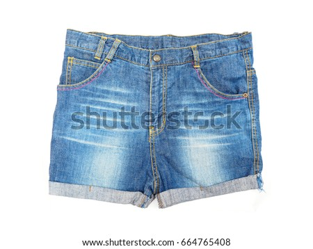 Shot blue jeans isolated on white background , Jeans concept #664765408