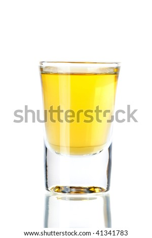 Shot cocktail collection: Gold Tequila isolated on white background