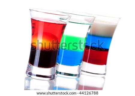 Shot cocktail collection: Morning, Anabolic and Russian Flag isolated on white background