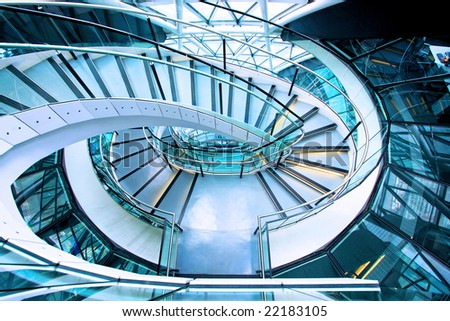 Shot from above of elliptical stairway in building
