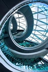 Shot from below of big round stairway