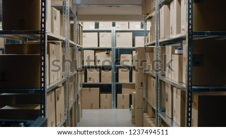 Shot Inside Warehouse Storeroom with Rows of Shelves Full Cardboard Boxes, Parcels, Packages Ready For Shipment.
