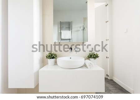 Shot of a bathroom interior with a white vanity top