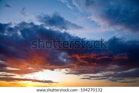 Shot of a beautiful sunset - stock photo