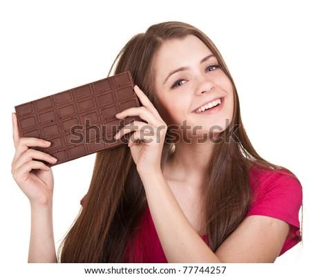 Shot of a beautiful teen girl holding big chocolate bar
