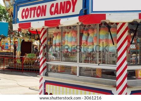Shot of a cotton candy kiosk at the carnival.