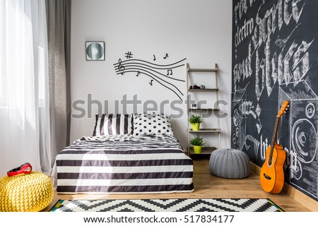 Shot of a cozy music inspired bedroom