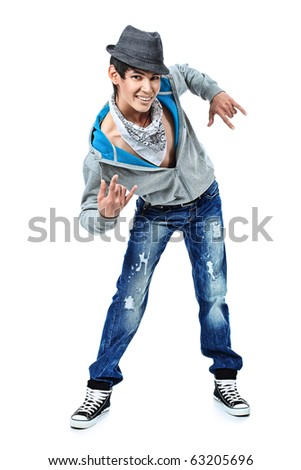 Shot of a dancing young man. Isolated over white background.