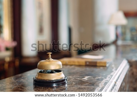 Shot of a Desk Bell in hotel #1492053566