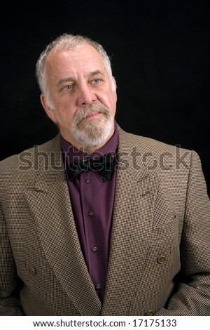 shot of a distinguished older man with a serious look on