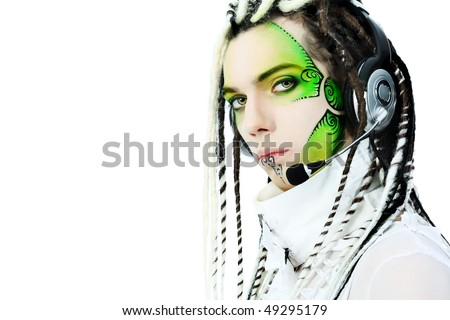 Shot of a futuristic young man in earphones. Isolated over white background.