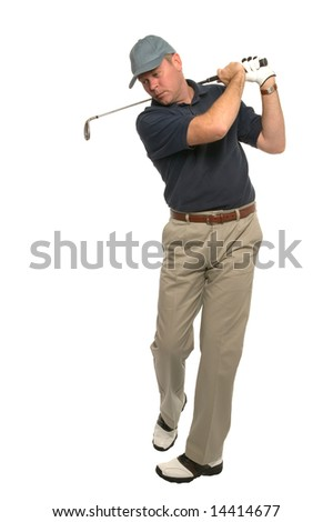 Shot of a golfer during the follow through of his swing using an iron, on a white background.