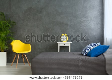 Shot of a grey bedroom decorated with colorful details