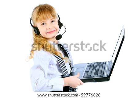 Shot of a little girl in headphones with microphone sitting with her laptop. Isolated over white background.