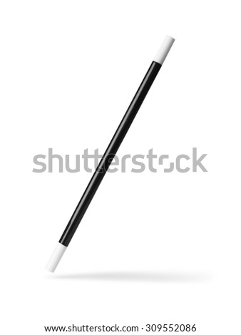 shot of a magic wand suspended in thin air with a drop shadow and clipping path isolated on a white background.  #309552086