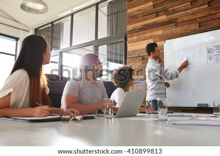 Shot of a male office worker giving creative presentation to his colleagues. Businessman explaining business plan to coworkers in conference room.