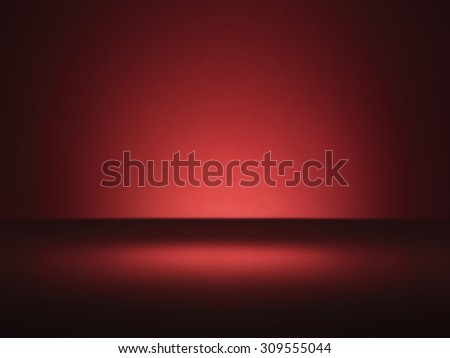 Shot of a plain red background with vignette style lighting with copy space. It has the appearance of a wall and a table top ideal to add type or items with a drop shadow.