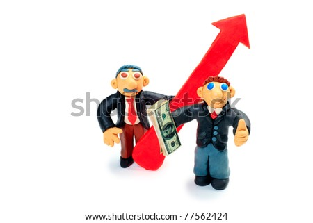 Shot of a plasticine businessmen in a suit holding money. Isolated over white background. - stock photo