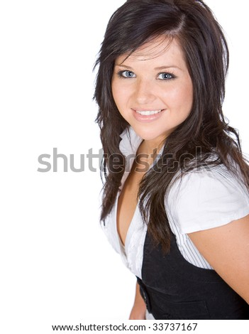 Shot of a Pretty Teenager Smiling against White Background #33737167