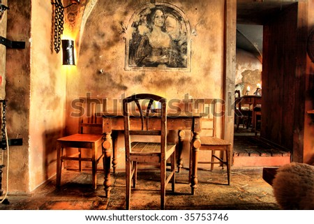 Shot of a restaurant designed at a medieval style.