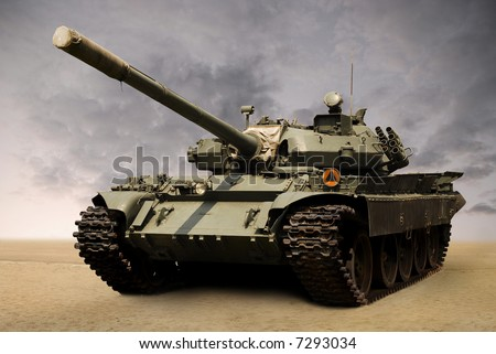 shot of a russian military tank T55 from eighties. Cannon covered with his original case.
