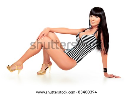 Shot of a sexy woman in bikini. Isolated over white background.