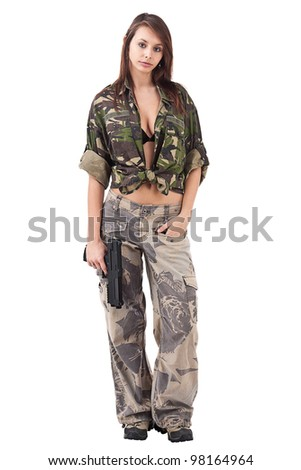Shot of a sexy woman in military uniform posing isolated in white background.