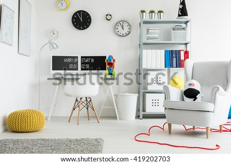 Shot of a spacious modern children's room  full of colorful decorations #419202703