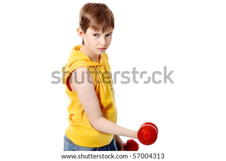 Shot of a sporty boy teenager with dumbbells. Isolated over white background.