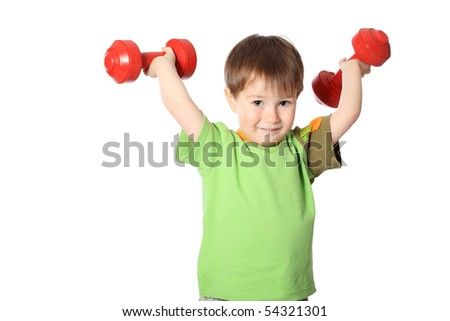 Shot of a sporty little boy with dumbbells. Isolated over white background.