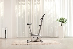 Shot of a stationary exercise bike at a luxury home