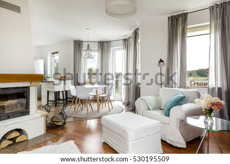 Shot of a stylish living room with white furniture